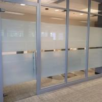 Frosted window tinting Miami, Office frosted windows Miami, decorative window films Miami, 3M fasara Film Miami, 3M window frosting for privacy Miami, privacy window film installed Miami, conference center window frost, office window patterns