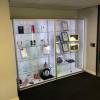 Trophy and awards display cabinet in the reception area of Hampshire Fire Brigades HQ in Eastleigh.