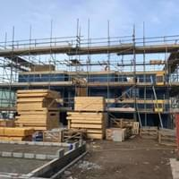 Scaffolding in progress in Ilfracombe, North Devon