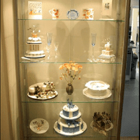 Client specified display cabinet for the display of hand made cakes, complete with LED down lights.
