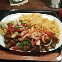 Home  ade kebab and chips
