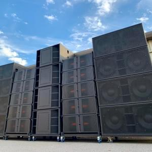 When you event demands the highest quality audio JPC Entertainment has you covered. Pictured is our Bassboss Medium Format Line Array cabinets, VS21 Subwoofers, & SSP218 dual 18s. This sound system has exceptional clarity, high output, wide dispersion, and long throw.