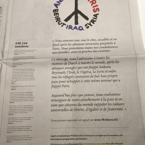 That time we crowdfunded a newspaper ad with others internationally to stand in solidarity with Paris