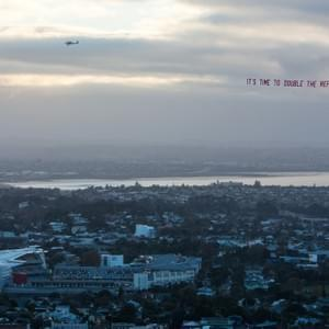 That time we flew a #doublttherefugeequota plane over a sold-out Eden Park All Black's match