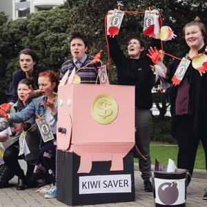Our crowdfunded theatrical stunt on Parliament lawn to highlight the problem with an unethical KiwiSaver