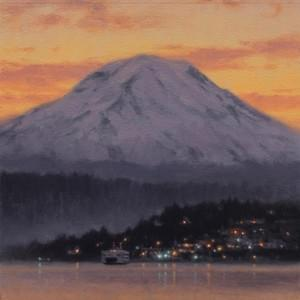 """Rainier by Winter Light"" 12x10, Oil, $1000"