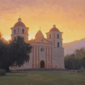 """Mission Santa Barbara"" 18x24, Oil, $2200"