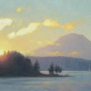 """First Light Over the Sound"" - 8x16, Oil"