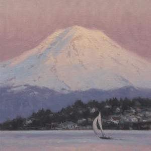 """Rainier by Winter Light"" - 12x10, Oil, $1000"
