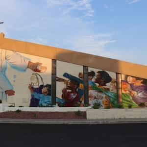 Mural on First Good Shepherd Lutheran Church located in Downtown Las Vegas. Las Vegas, Nevada. July 31, 2018. Photo by David Becerra.