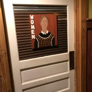 Women's Room Sign with farmer painted at theBarn