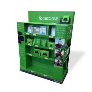 End cap corrugated cardboard stand for games