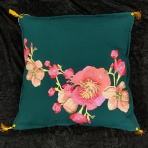 Silk Applique on Cotton Cushion The Gilded Raven