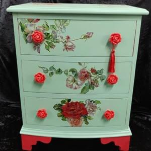 Decoupage Rose Chest - The Gilded Raven Newark