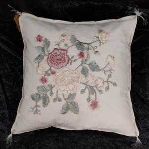 Silk Applique on Cotton Cushion