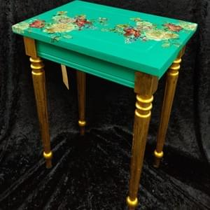 Small Decoupage Table - The Gilded Raven