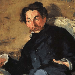 Stéphane Mallarmé, one of the great symbolist poets  and well known critic. A bit of a black sheep of this salon he enjoys playing the provocateur.