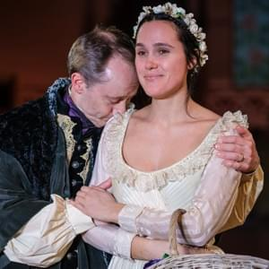 Polonius (Andrew Sellon), Ophelia (Eden Brolin); Photo: Will O'Hare