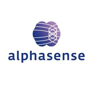 Alphasense logo and symbol, a brain with brain waves.