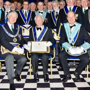 Members of the lodge and visitors with W Bro T H Coulter and the Provincial Grand Master