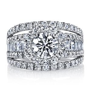 Diamond Engagement Ring 2.27 Ctw. Style 25625 An Embellished Engagement Ring with Triple Shank, Baguette Side Stones, In-Built Ring Guard and Floral Motif Cluster Halo. Shown in White Gold with Approx 1.5 Carat Round; Center excluded from Price. Side Stones: 2.27 Carat Total Weight.