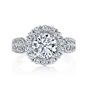 Diamond Engagement Ring 1.22 Ctw. Style 25628 An Embellished Engagement Ring with Cluster Halo and Diamond Embellished Shank. Shown in White Gold with Approx Two and Half Carat Round Brilliant Cut Center. Center excluded from Price. Side Stones: 1.22 Carat Total Weight.