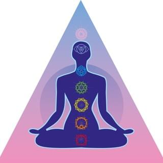 Illustration of 7 Chakras In Triangle