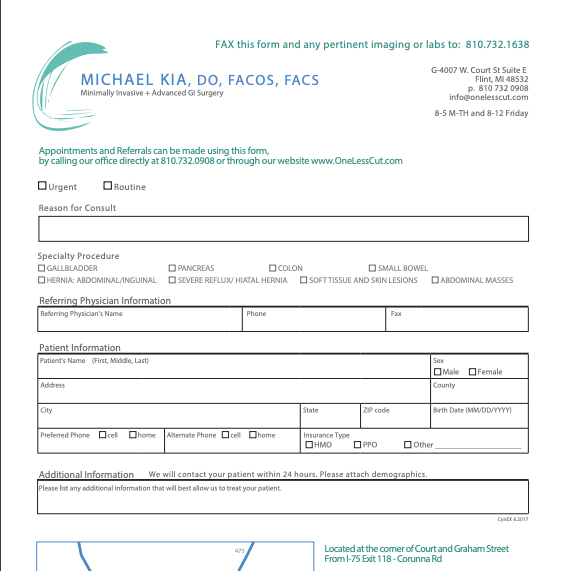 Gastroenterology and GI Surgery Referral Form