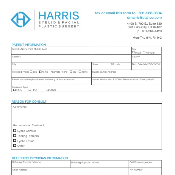 Facial Plastic Surgery Referral Form