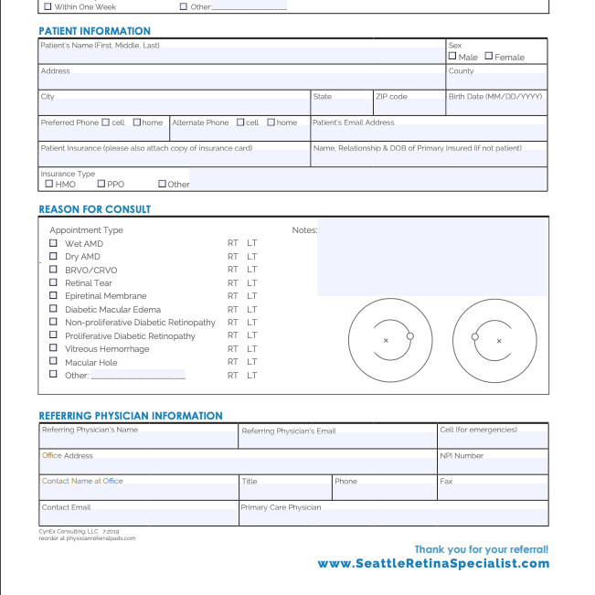 Ophthalmologist Referral Form