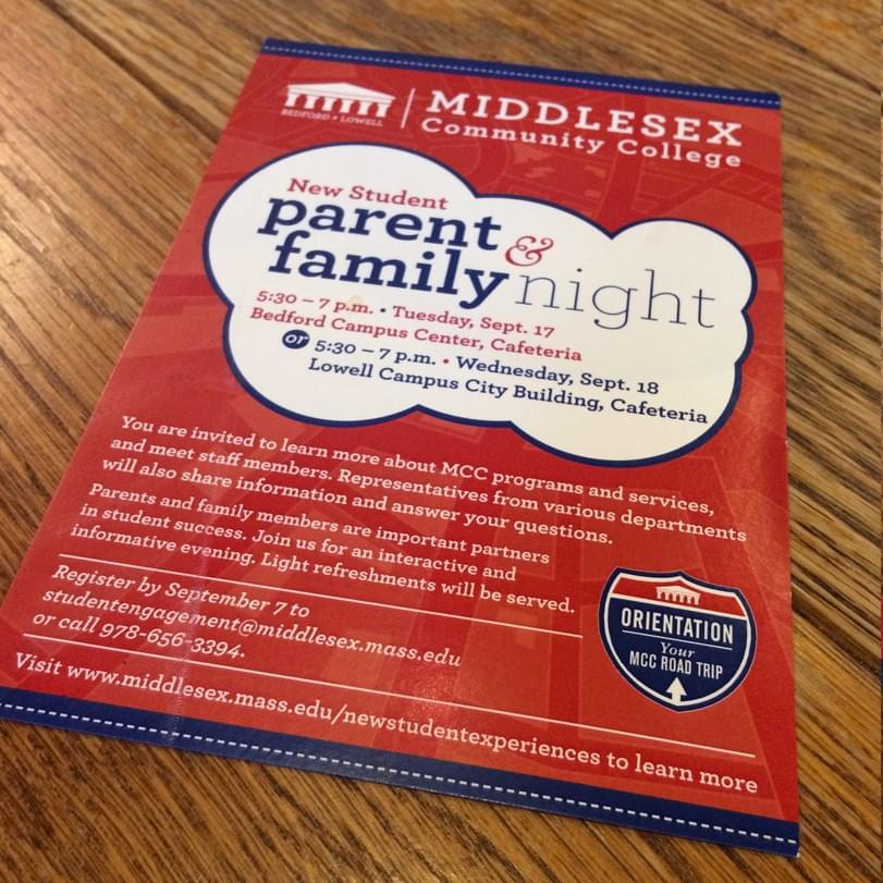 Middlesex Community College New Student Parent & Family Night Postcard