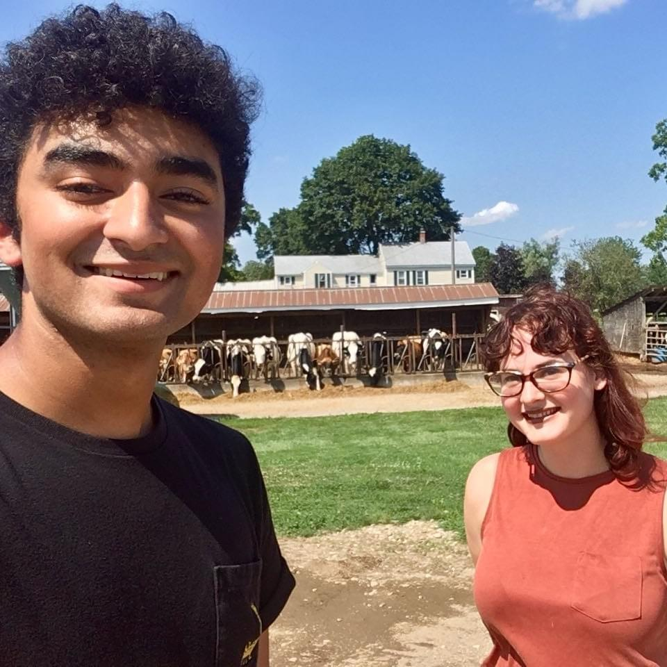 Our lab manager Alix and high school research intensive intern Ashwin celebrating the end of a great summer at a local farm
