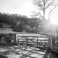 haelio photo – The gate at Rievaulx Abbey – Winter sunlight in the Yorkshire Moors