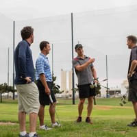 Speedgolf LA founder Garlin discussing the new sport after a early morning round