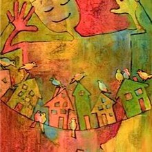 Joy with Bluebirds