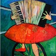 Accordion Playing Unicyclist /SOLD