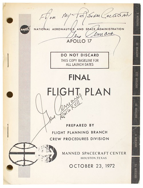 Apollo 17 : Gene Cernan's Signed Flight Plan