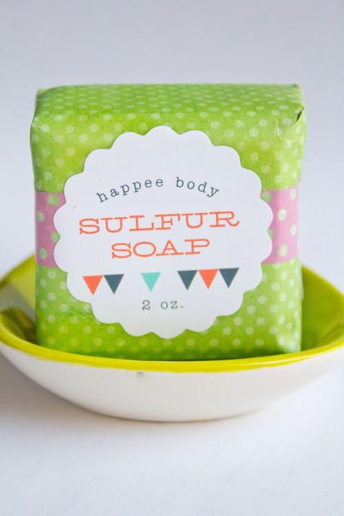 Anti-Acne Sulfur Soap + Lime Owl Soap Dish