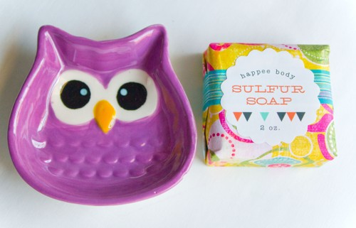 Anti-Acne Sulfur Soap + Purple Owl Soap Dish