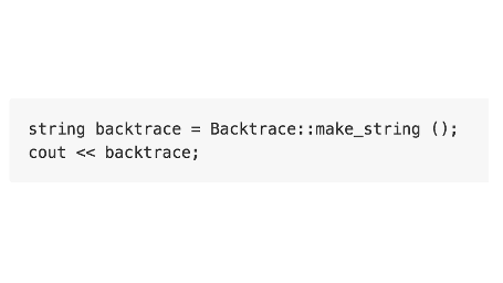 C++ runtime backtrace
