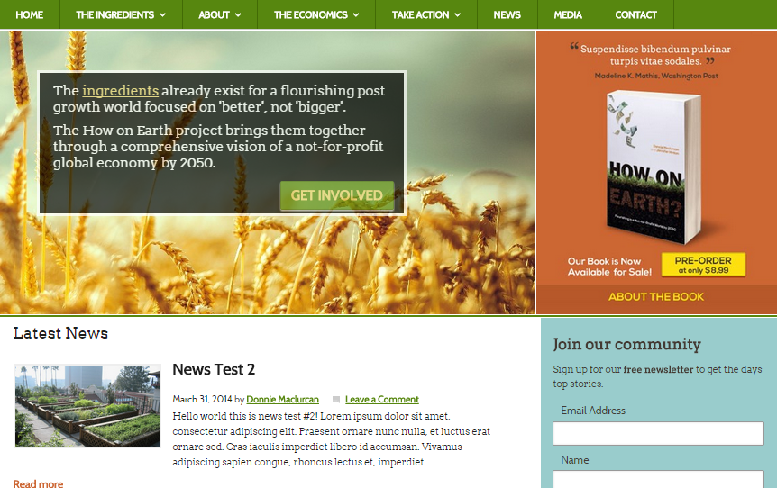 screenshot of www.howonearth.us, which will be launched in the coming months