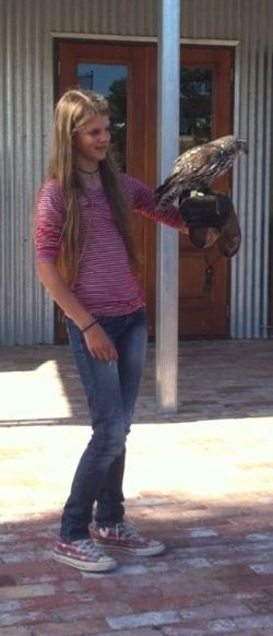 SSA Student Milla picked to be in the Flight Show (w) Stanley the Barking Owl.