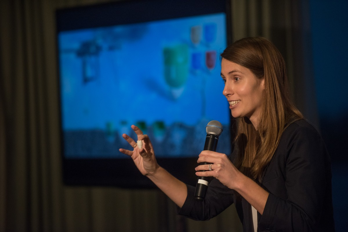 Dr Susan Graham presenting the BioCarbon Engineering solution at the United Nations Solutions Summit, New York, 2015.