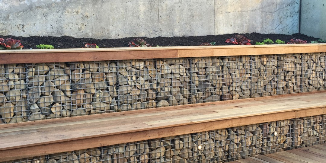 Gabion Baskets in a rock retaining wall