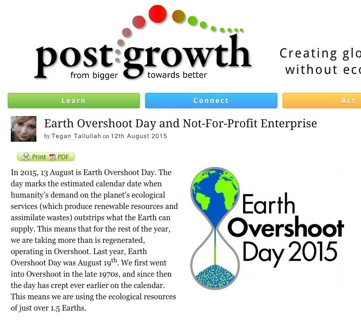 earth overshood day article screenshot from post growth blog
