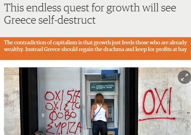 screenshot of guardian article on post growth beyond capitalism