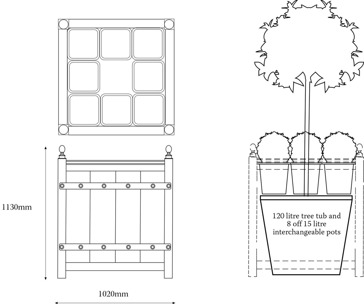 Drawing of bespoke tall No.9 Versailles planter with detachable panel for ease of seasonal tree removal