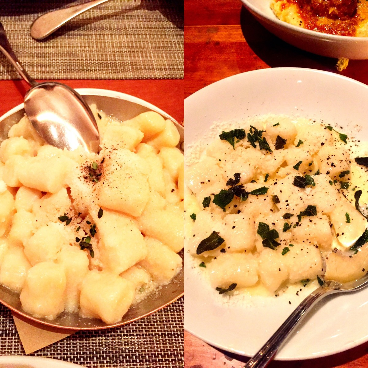Gnocchi at Craft (left); Gnocchi at Hearth (right)