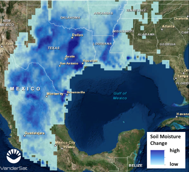 Figure 1:  Intensity map of the soil moisture change (i.e. light blue is a small increase, dark blue is a strong increase in soil moisture) right after Hurricane Patricia passed the continent as seen by NASA's new satellite mission SMAP.