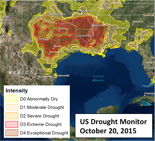 Us Drought Monitor Oct. 20 2015 before hurricane Patricia